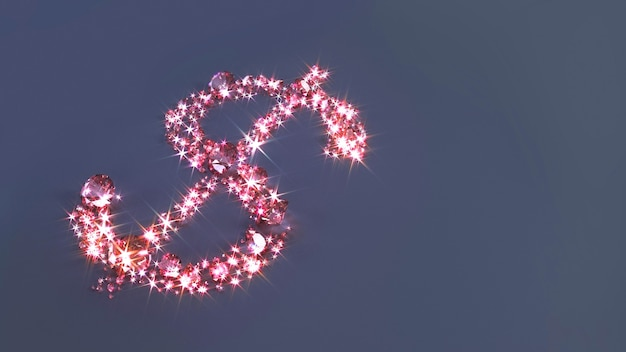 Set of pink precious stones scattered on the surface in the form of a dollar sign