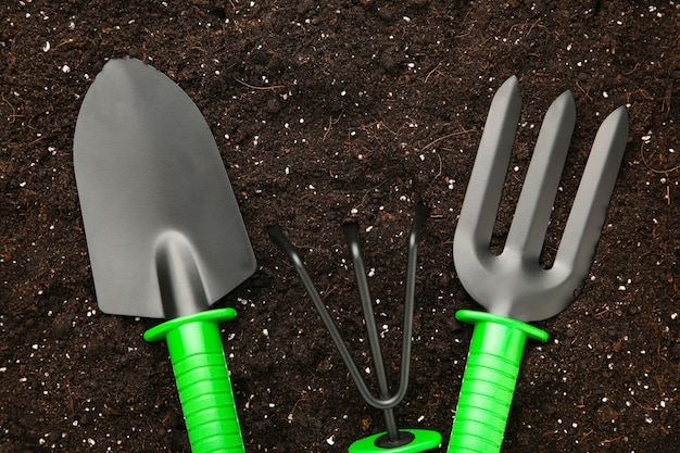 Set of plant care utensils on soil with copy space Premium Photo