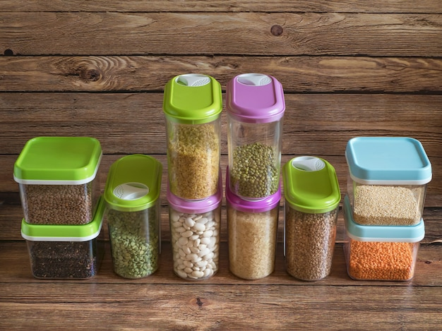 Set of plastic containers with cereals