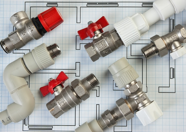 Set plumbing fittings on the drawing