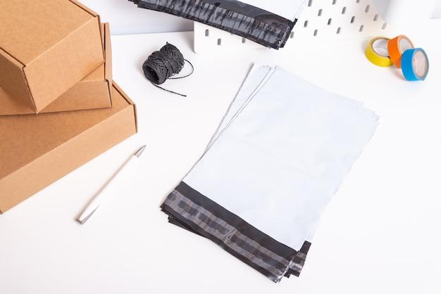 Set of polyethylene bags on office desk