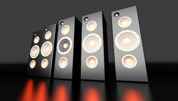 A set of powerful loudspeakers. 3d rendered illustration.