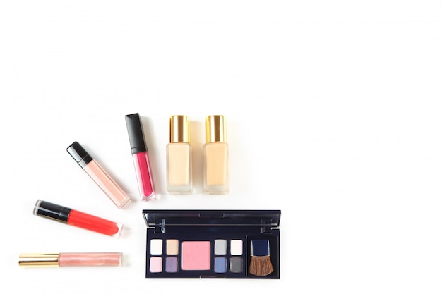 Set of professional cosmetic products on white