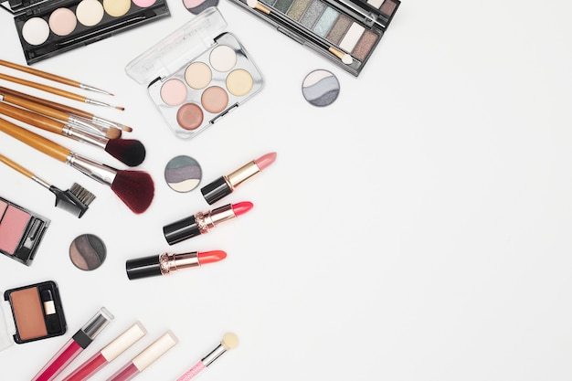 Set of professional cosmetics, makeup tools and accessories on white background, beauty, fashion, shopping concept, flat lay. high quality photo