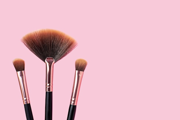 A set of professional makeup brushes, stylish make-up artist tools for cosmetics, beauty concept, skincare