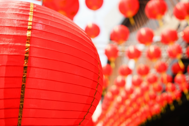 Set of red chinese lanterns circular. decor for asian new year