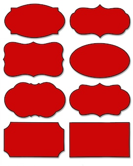 Set of red label with different shape isolated
