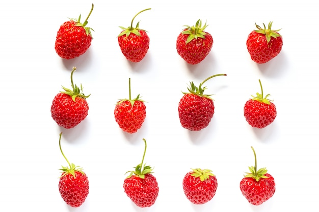 Set red ripe strawberry isolated on white background