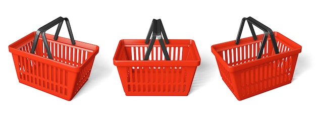 Set red shopping basket. isolated on white background. 3d render.