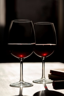 Set of red wine glasses on table