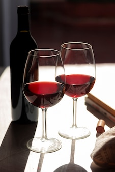 Set of red wine glasses with shadow