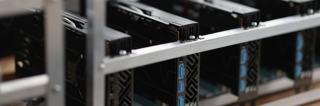 Set of riser installed at pci express slots of cryptocurrency mining farm