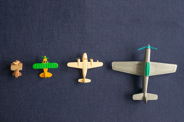 Set of scale models of airplanes