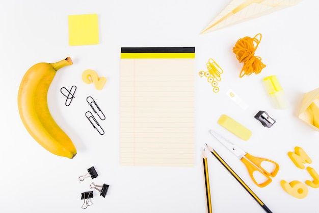 Set of school supplies in yellow and black colours