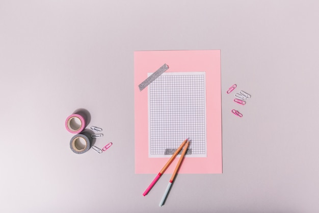 Set for scrapbooking in pink and tones glued with silver tape
