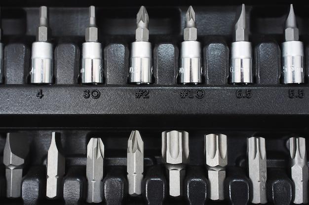 Set of screwdriver bits in socket toolbox