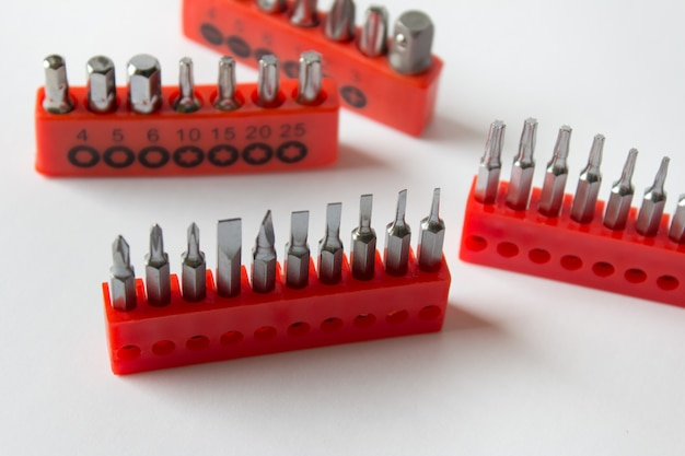 Set of screwdrivers in red stands