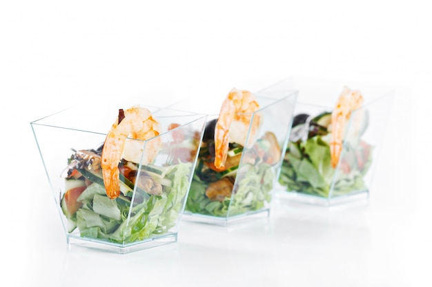 Set of seafood canapes