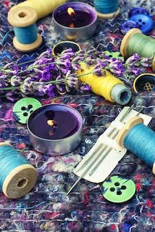 Set of seamstresses and a bouquet of lavender