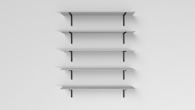 Set of shelves isolated on wall