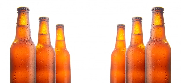 Set of six beer bottles isolated on white