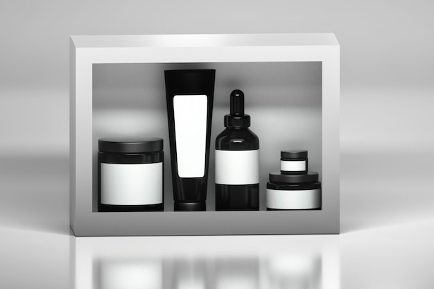 Set of skin care products packages. black plastic shiny cosmetics containers