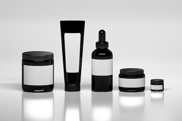 Set of skin care products packages.