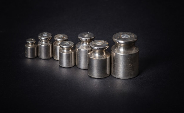 A set of small metal weights