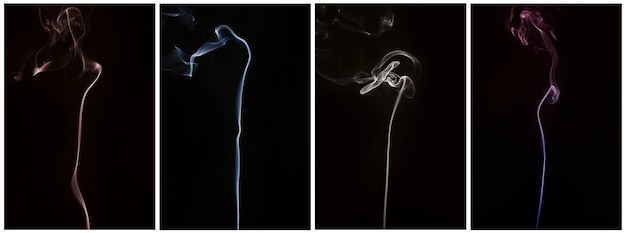 Set of smoke swirling from incense against black backdrop