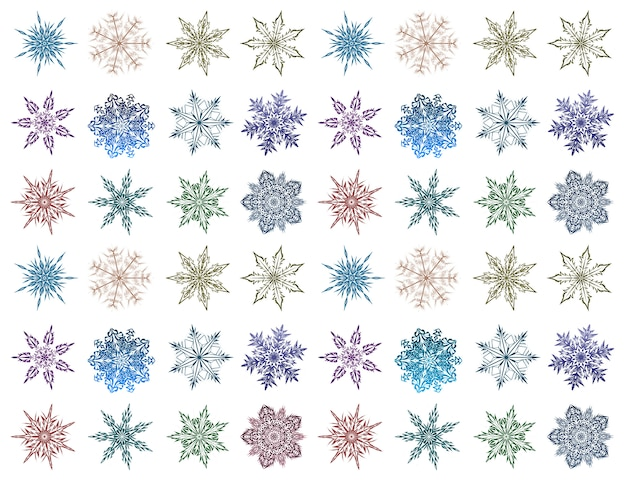 Set of snowflakes of different shapes and colors. beautiful snowflakes on white