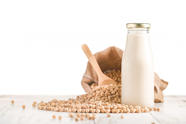 Set of soy beans and bottle of soy milk