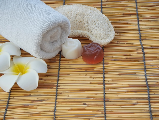 Set of spa accessories on table bamboo