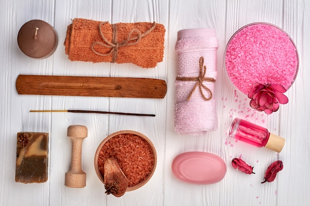 Set of spa items for beauty and health flat lay