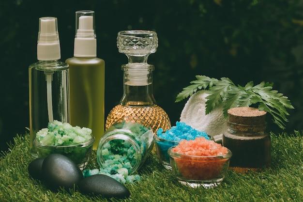 Set of spa massage on green grass