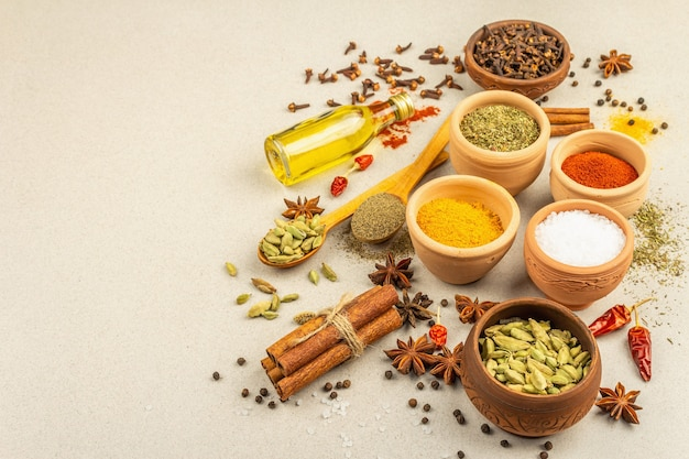 A set of spices for cooking curry. aromatic condiments: turmeric, paprika, cardamom, cinnamon, star anise, chili, black pepper, dry herbs, salt. light stone concrete background, copy space
