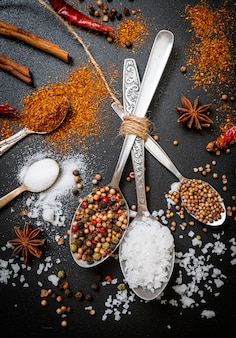 A set of spices and herbs with spoon