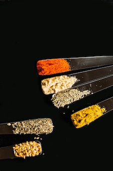 Set of spices on spoons