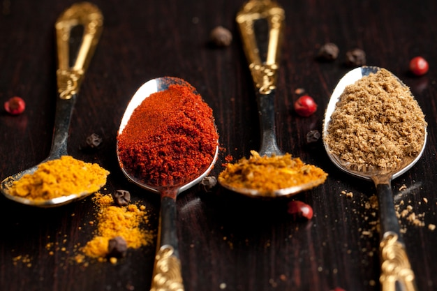 Set of spices in teaspoons