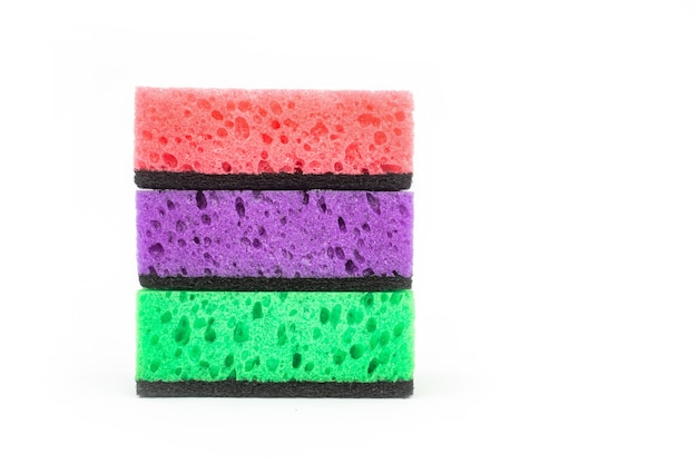 Set of sponges isolated on a white background, kitchen cleaning concept photo
