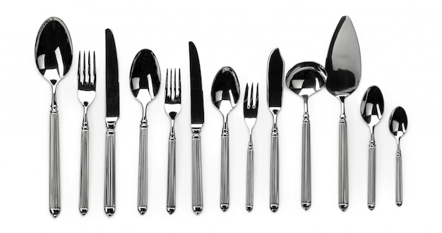 Set of stainless steel cutlery isolated on white