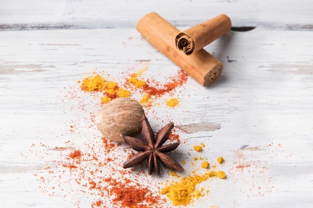 Set of star anise, curcuma, cinnamon stick and nutmeg
