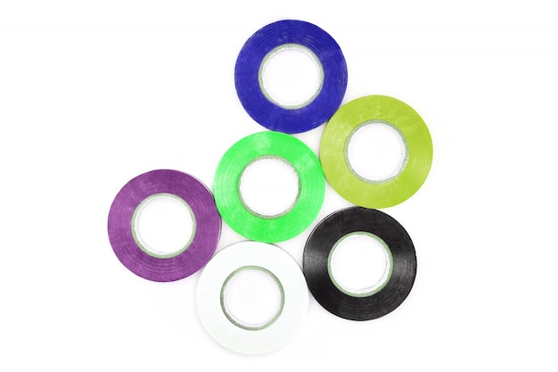 Set of sticky colorful electrical protection tape.