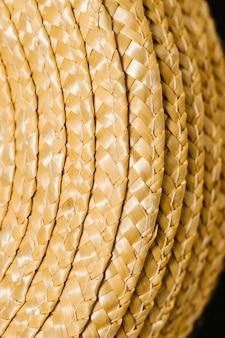 Set of straw hats close-up