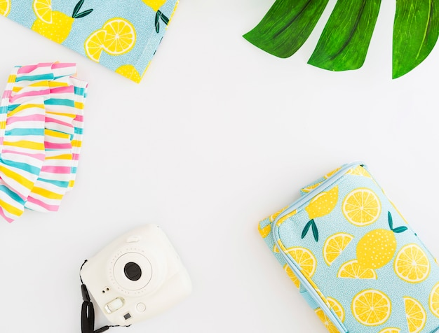 Set of summer accessories for beach holiday