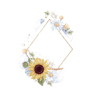 Set of sunflower in a gold frame. watercolor illustration.