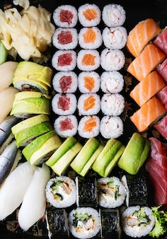 Set of sushi as background