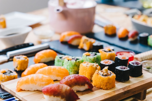 Set of sushi on board