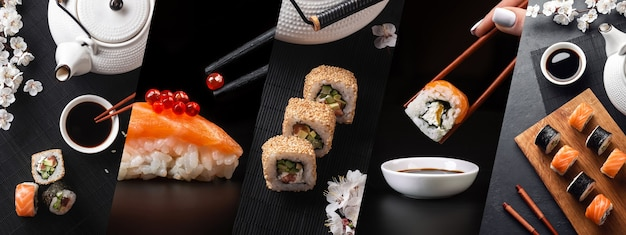 Set of sushi and maki rolls with branch of white flowers and teapot. panoramic photo collage.