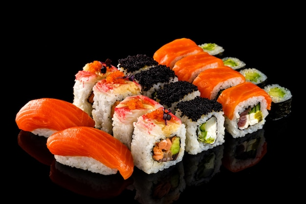 Set sushi roll. traditional japanese cuisine.
