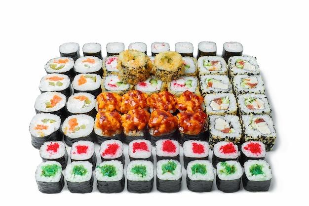 A set of sushi rolls on a white isolated background. japanese set